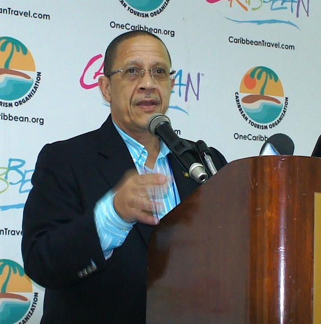 """AttheCaribbean Tourism Organization'sannual State of the Industry Conference (SOTIC),William """"Billy"""" Griffith, CEO ofBarbados Tourism Marketing Inc., forecasted continued growth inBarbados' tourism.. (Photo credit: Ed Wetschler)"""