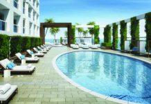 Poolside at the Conrad Fort Lauderdale Beach Resort.