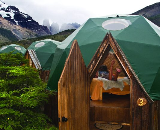 Standard dome tent at EcoCamp Patagonia, where AdventureSmith Explorations clients stay while touring Patagonia.