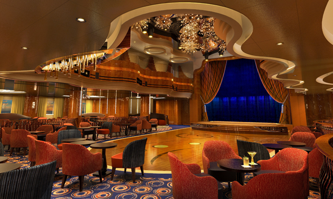 The interior of Holland America Line's new MS Koningsdam, including the Queen's Lounge (pictured) was inspired by the curves of musical instruments.