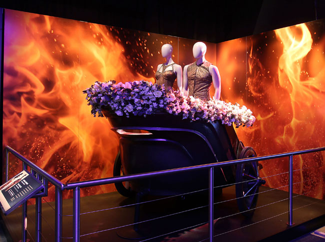 """Fans of the """"Hunger Games"""" will have the opportunity to view memorabilia from the movie franchise at the Westin New York at Times Square partner attraction theThe Hunger Games: The Exhibition at Discovery."""