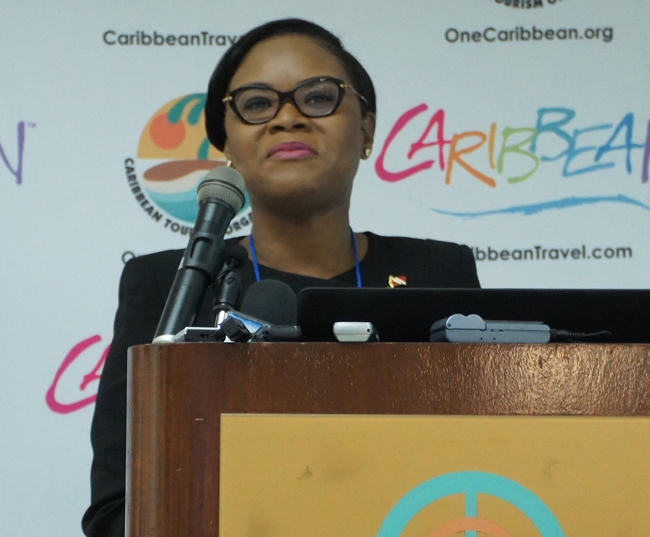 Tourism Minister Shamsa Cudjoe at the Caribbean Tourism Organization's State of the Industry Conference in Curacao.