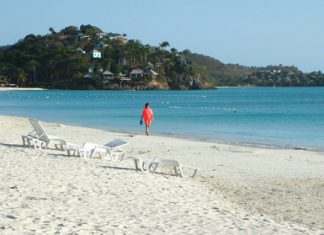 One of the 300+ white-sand beaches on Antigua and Barbuda.