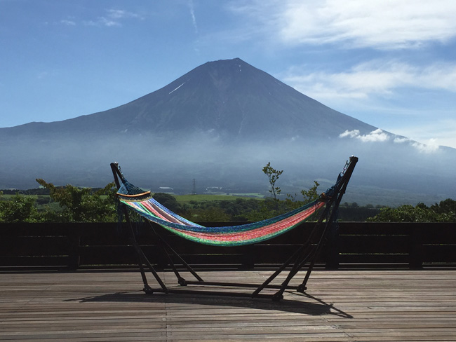 The resort offers stunning views of Mt. Fuji.
