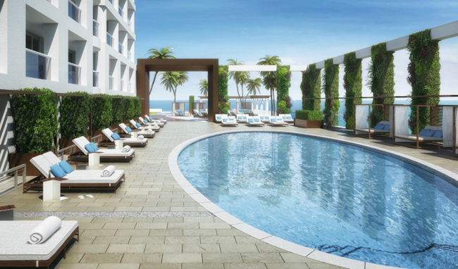 A rendering of the future pool at Conrad Fort Lauderdale Beach Resort, set to open in early 2016.