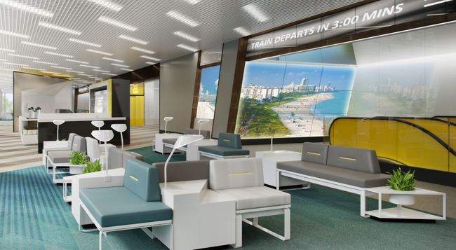 A rendering the Fort Lauderdale Station's interior.