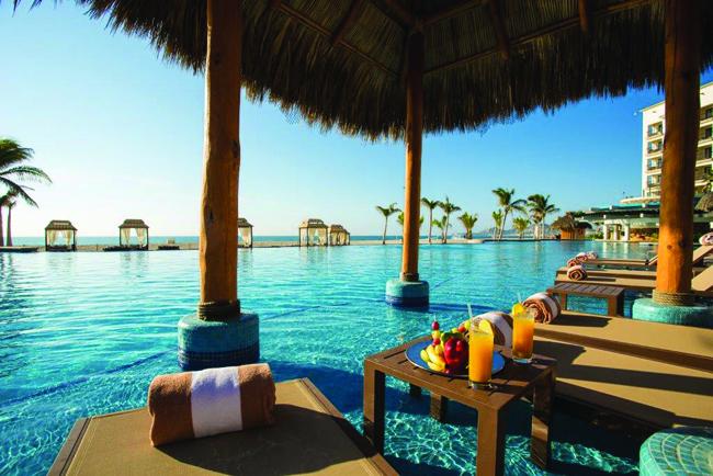 Poolside at Hyatt Ziva Los Cabos in San Jose del Cabos, Mexico.