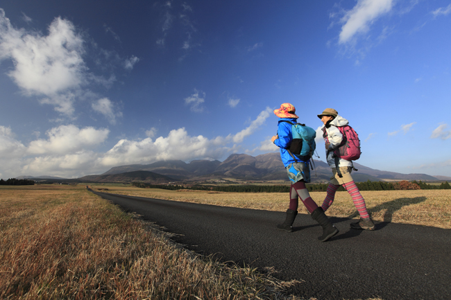 Hiking the Kuju highland.