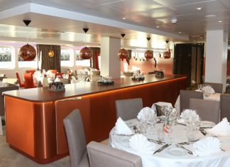 CroisiEurope'sChristmas on the Loireholiday cruise includes a special Christmas Eve dinner in theLoire Princesse Restaurant. (Photo credit: Haubtmann)