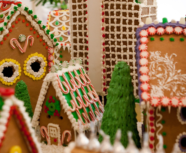 The Island Hotel Newport Beach's lobby features coastal cottage gingerbread display during the holidays.