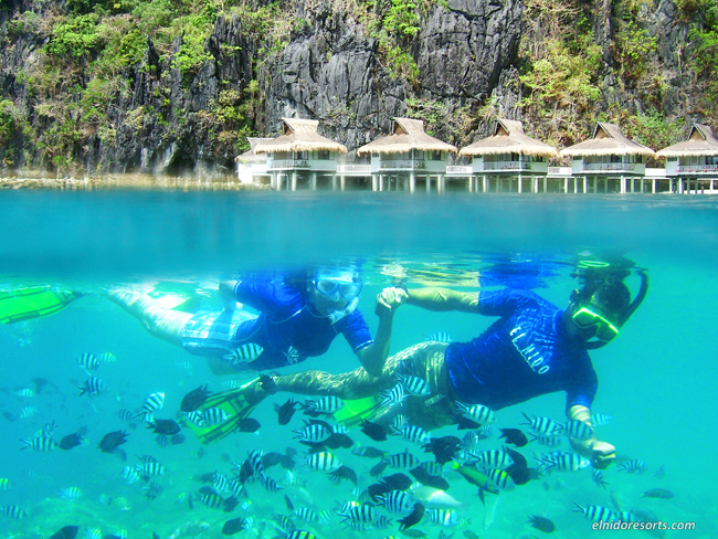 Visitors snorkeling in the Philippine Coral Reef.