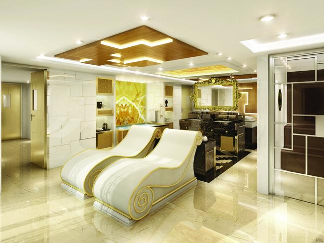 Luxurious interiors on Regent's Seven Seas Explorer.