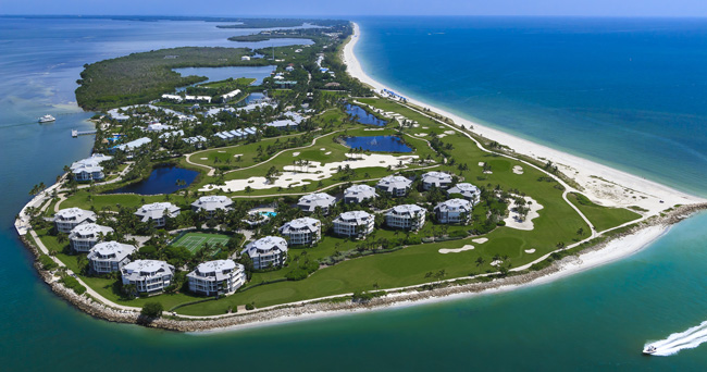 An aerial view of South Seas Island Resort on Captiva Island.