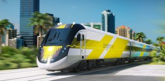 A rendering of All Aboard Florida's Brightline train.