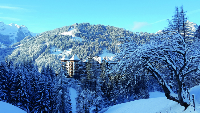The Alpina Gstaadis is nestled on five acres in Oberbort in the heart of the Bernese Alps.