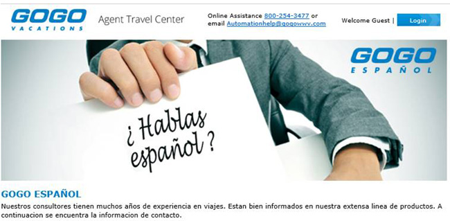 The landing page for GOGO Español.