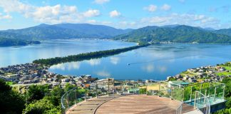 From the top of the amusement park/observatory Amanohashidate View Land, visitors can see views of the of the entire sandbar.