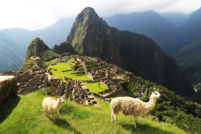 Machu Picchu sits atop the Andes mountains in Peru.