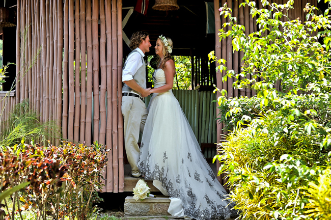 A garden wedding at Barefoot Holidays St. Lucia.