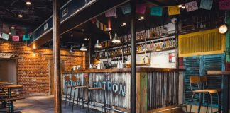 El Patron's bar features a corrugated iron bar and reclaimed material from former warships.