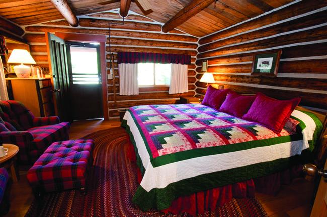 Cozy accommodations at Jenny Lake Lodge in Grand Teton National Park.