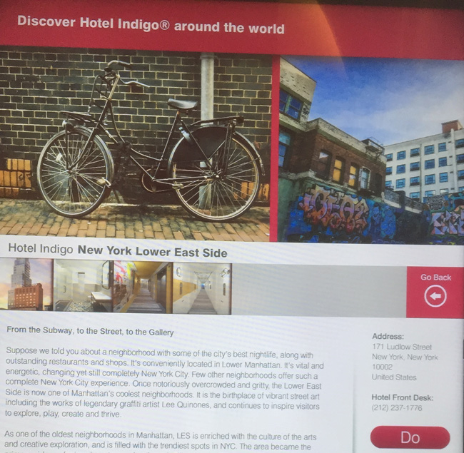 The Hotel Indigo Lower East Side's touchscreen Neighborhood Guide.
