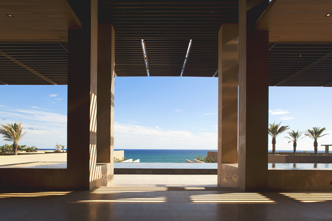 Views of the JW Marriott Los Cabos Beach Resort & Spa's infinity pool from the lobby.