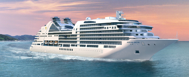 An exterior rendering of the Seabourn Encore.
