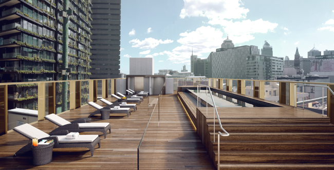 A rendering of theOld Clare Hotel's rooftop bar in Sydney, Australia.