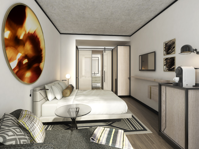 A rendering of a guestroom in the new William Vale Hotel.