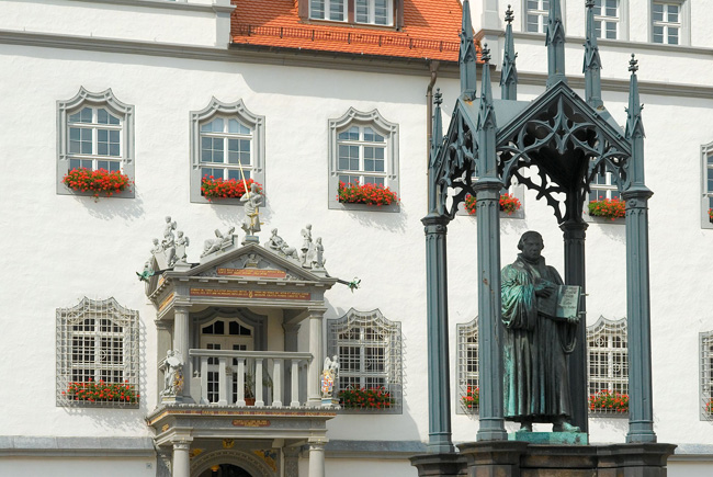 Wittenberg Market Square features statue of Martin Luther.
