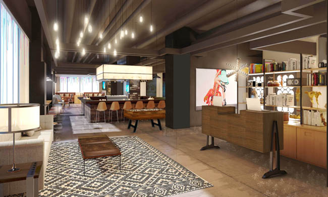 A rendering of a public space inside the new Moxy New Orleans.
