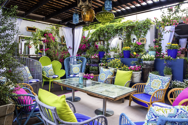 The Sofitel Los Angeles at Beverly Hills' Le Jardin garden patio.