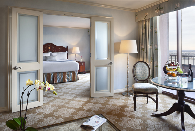 A suite at the Windsor Court Hotel in New Orleans.
