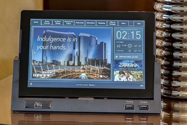 The ARIA Resort & Casino's in-room tablet.