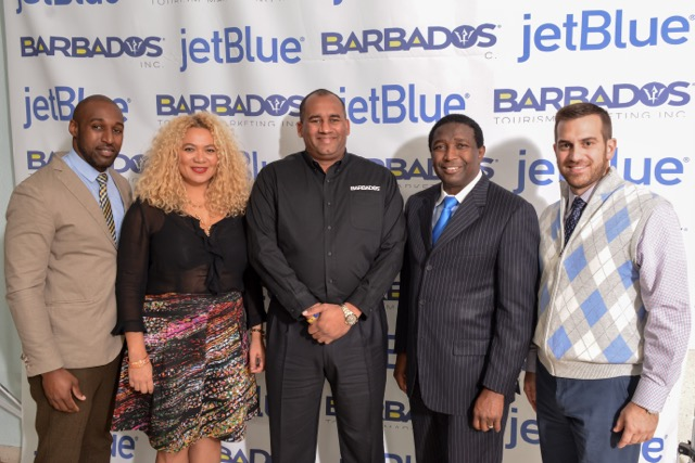 From left to right: Samora Emmanuel, manager, airport operations - FLL for JetBlue Airways, Petra Roach, director, USA for Barbados Tourism Marketing Inc., Richard Sealy, Minister of Tourism and International Transport, Dale Holness, Broward County Commissioner, District 9 and Josh Powe, Airport Manager - FLL for JetBlue Airways.