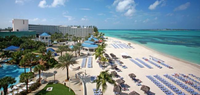 The 694-room, 32-suite all-inclusive Melia Nassau Beach.