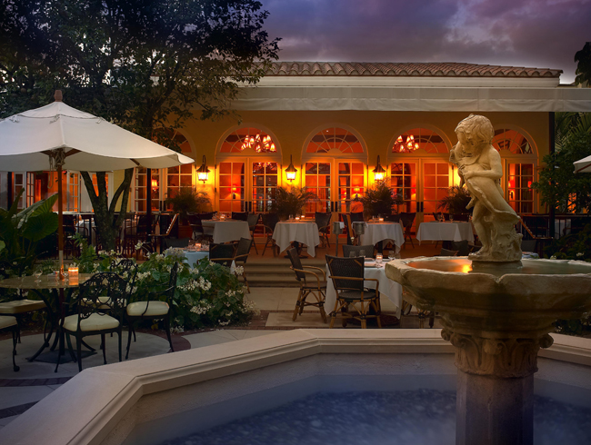 Cafe Boulud Terrace at the Brazilian Court in Miami.