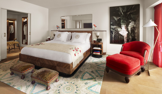 A suite at the new Faena Hotel Miami Beach.