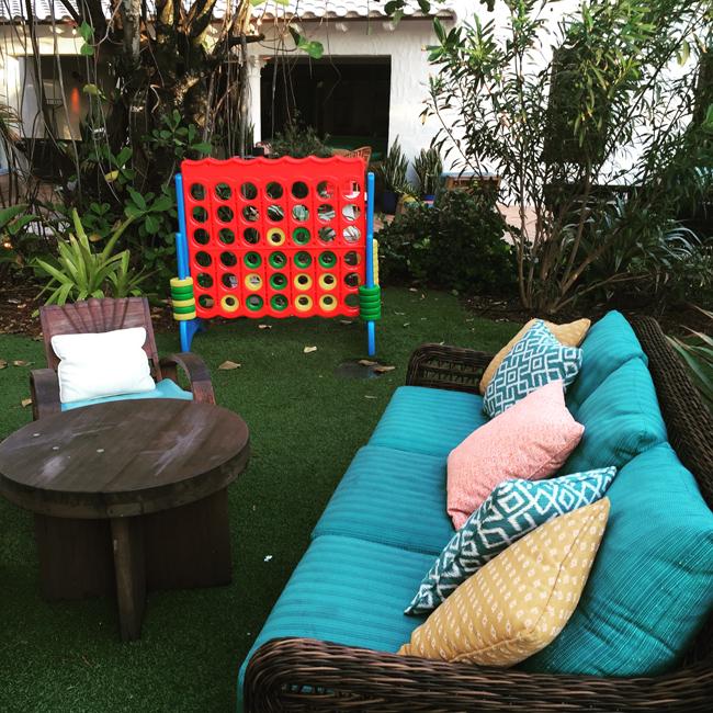 The hotel's casual backyard.