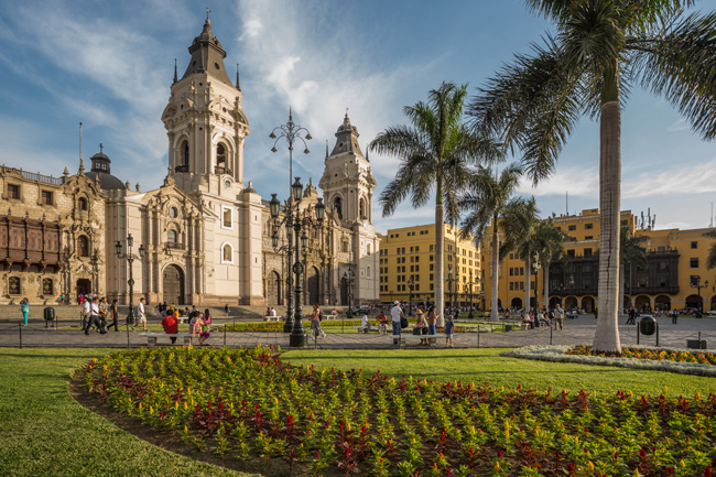 The cathedral church and main square in Lima, Peru.