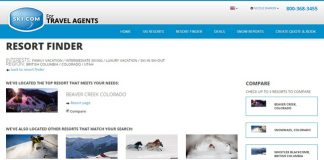 Ski.com's new Resort Findertool allows agents to view aside-by-side comparison of the up to three resorts.