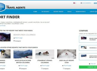 Ski.com's new Resort Finder tool allows agents to view a side-by-side comparison of the up to three resorts.