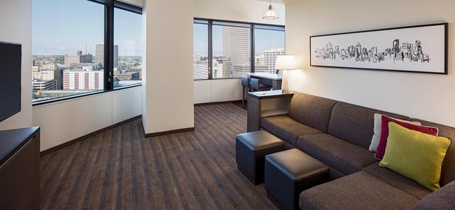 A suite at theHyatt House New Orleans/Downtown.