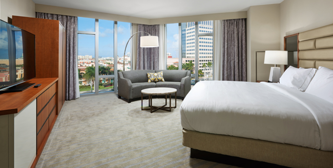 The 1-bedroom City View suite at the Hilton West Palm Beach.