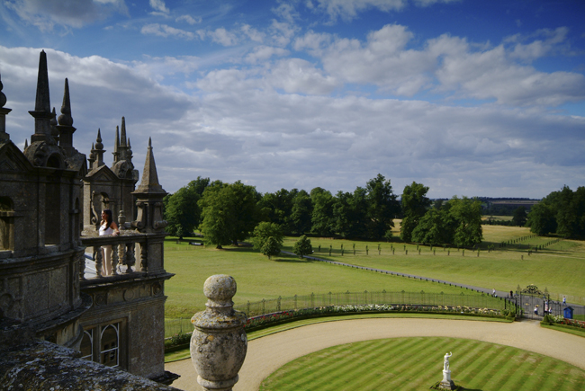 View of Burghley House's formal gardens and surrounding parkland. The landscaping and designs were created by Capability Brown in 1775-80.
