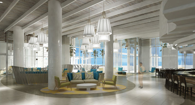 A rendering of the lobby at the upcoming Wyndham Grand Resort Clearwater Beach.