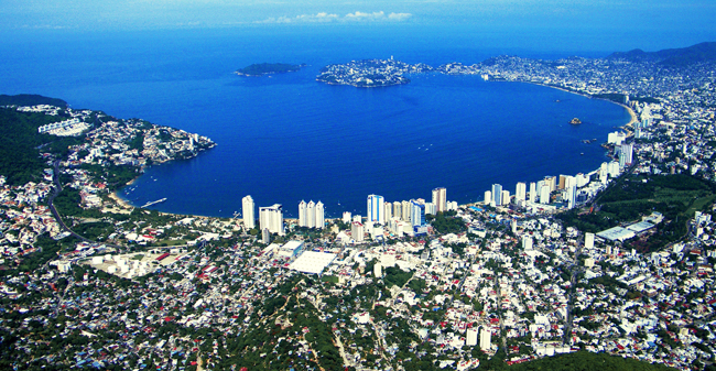 An aerial view of Acapulco.