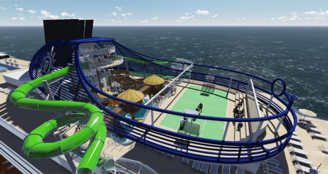 A rendering of the sports arena and slide on the new MSC Seaside.