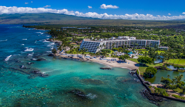 An aerial view of Mauna Lani Bay Hotels & Bungalows in Hawaii.